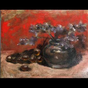 Original oil painting flowers vase red purple USA